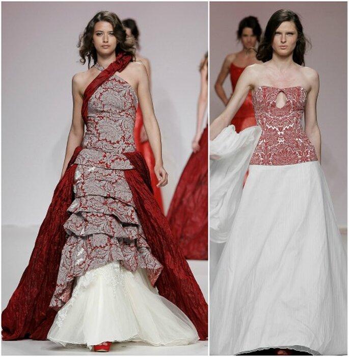Vestidos con cuerpo brocado y falda desmontable, de Jordi Dalmau. Foto: Barcelona Bridal Week