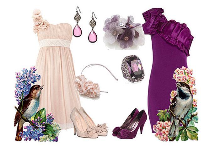 Looks de fiesta en nude y morado: vestidos de Oasis y Marchesa. Tocados: B de Blanca. Foto: Blanca Blanco