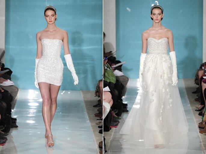 Ballhandschuhe in Weiß veredeln 2013 das Brautkleid – Foto: reem acra