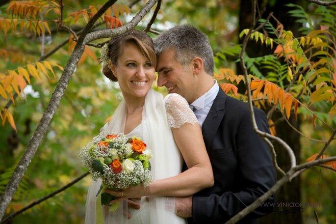 W gli sposi! Magnifico il bouquet con fiori, broccoletti e cavoli di Brouxelles. Foto courtesy degli sposi