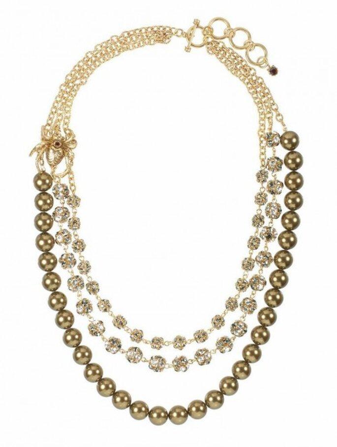 Collar de tres cadenas con pedrería y tonos oro - Foto Virgins Saints & Angels