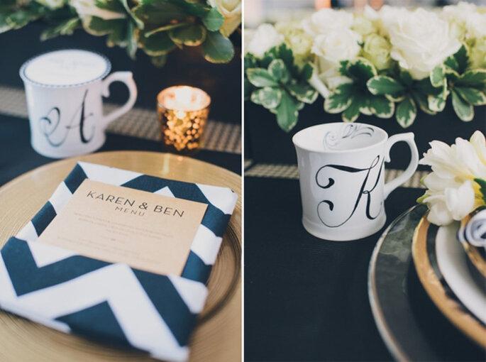 El chevron llega para vestir de gala las mesas de tu boda. Foto: Mango Studios