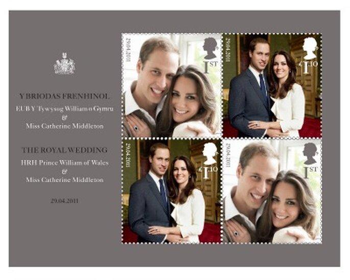 Sellos de la boda real. Foto: Royal Mail