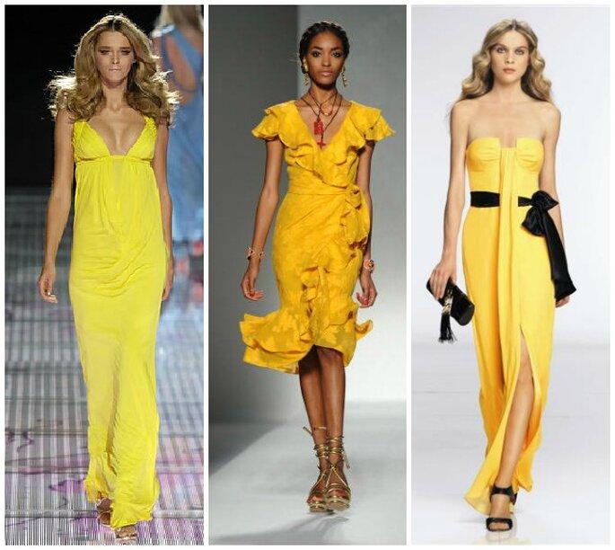 Colora di giallo i tuoi matrimoni estivi! Foto: Versace, Moschino, Escada