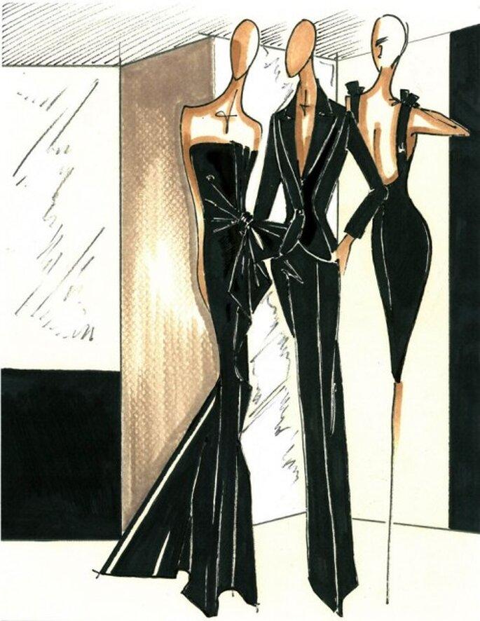 Bocetos de vestidos de fiesta elegantes en color negro para boda - Foto Carolina Herrera Facebook