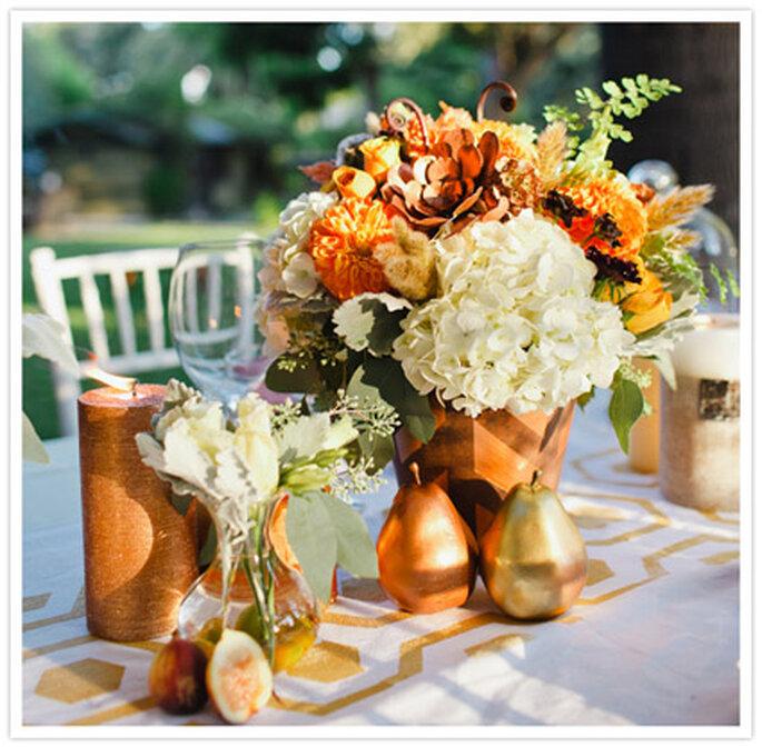 Inspiración en oro para boda. Foto de Christine Farah Photography.