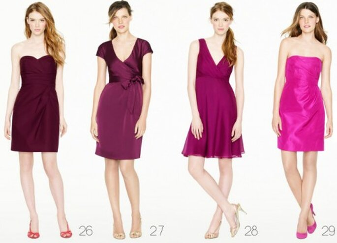 Vestidos para dama de honor en color vino y rosa - Foto: J.Crew Bridesmaid Collection