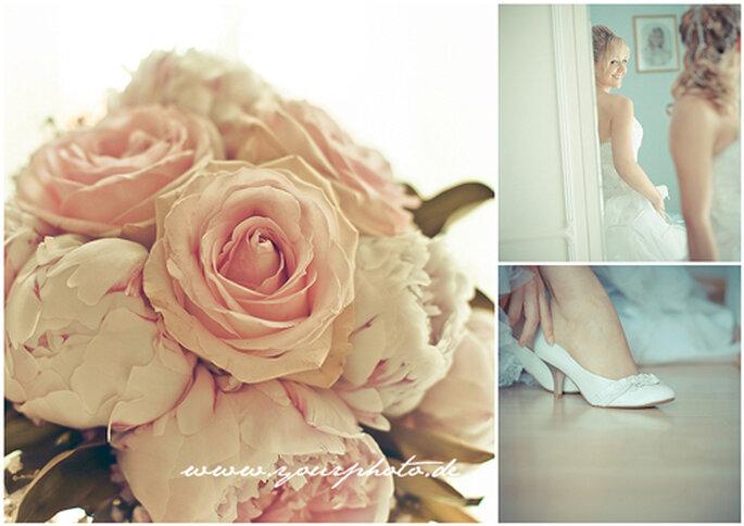 Zart und verträumt - romantischer Brautstrauss aus rosefarbenen Rosen.