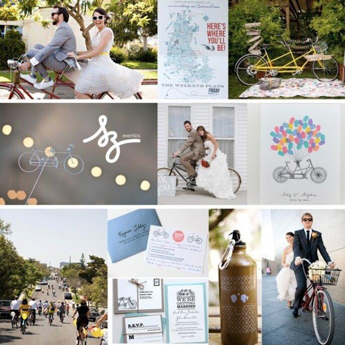 Collage de inspiración para incluir bicicletas en tu boda - Fotos: greenweddingshoes.com, weddingchicks.com, christinebonnivierphotography.blogspot.com, divagonedomestic.com, adoreweddingblog.com, unitedwithlove.com, flyawaybride.com - Diseño de Raisa Torres para SZ Eventos
