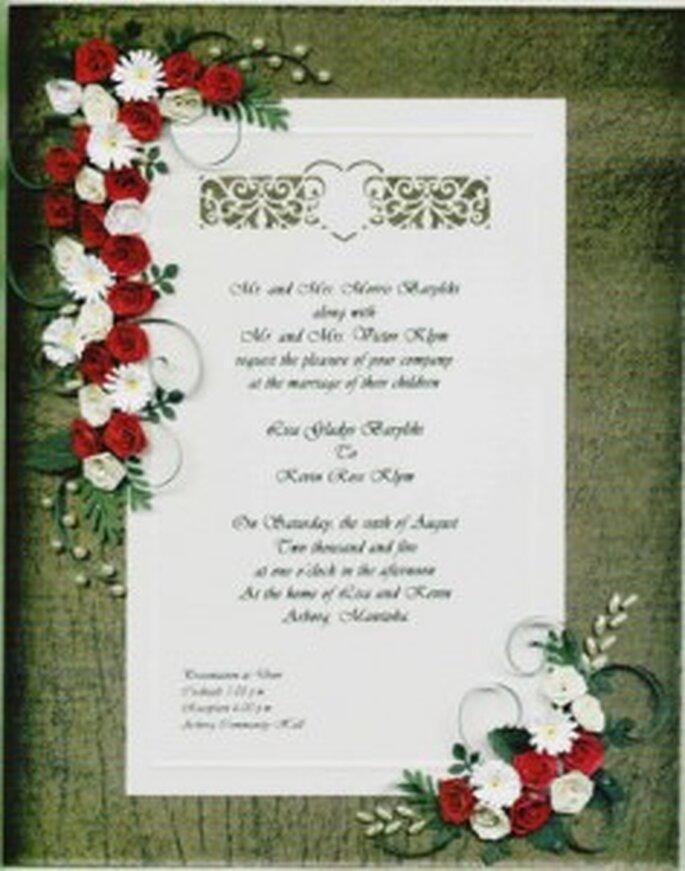 Invitación adornada con quilling