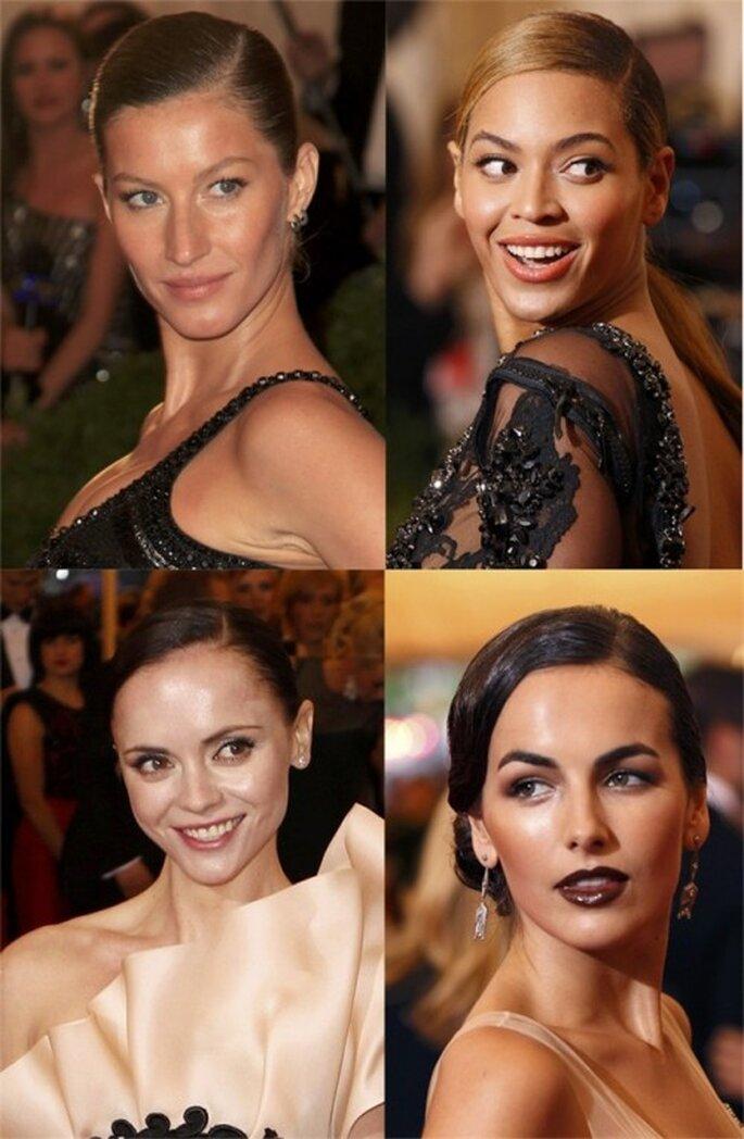 Giselle Bundchen, Beyoncé, Camilla Belle y Christina Ricci con raya al lado. Foto Gala del MET