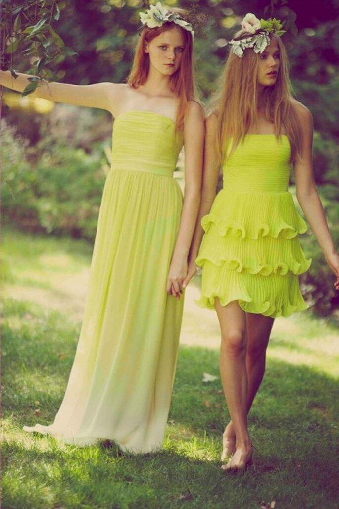 Vestidos de fiesta para boda en color amarillo vibrante - Foto Erin Fetherston