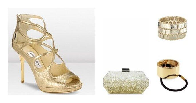4 accessori immancabili: le scarpe Jimmy Choo, la pochette Oscar de la Renta, il bracciale Accessorize e il fermaglio per capelli H&M. Foto: jimmichoo.com, oscardelarenta.com, accessorize.it e hm.com