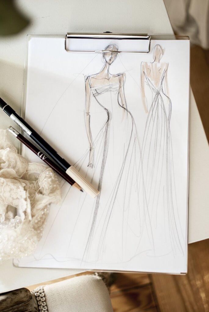 Boceto del vestido de novia de Lorenzo Caprile. Foto Manuel Ordovás
