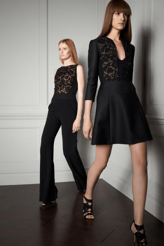Vestido y traje de fiesta en color negro para lucir clásica en una boda 2014 - Foto Elie Saab
