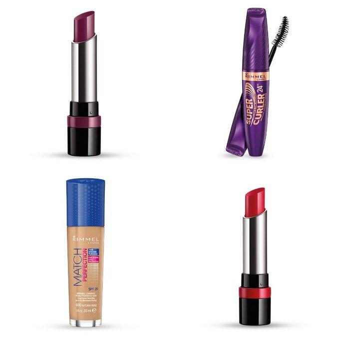 Algunos de los productos del lote de belleza de Rimmel. Foto: Zankyou