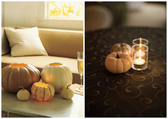 Decorate le vostre nozze con le zucche: niente fiori ma tanta suggestionte. Foto: Martha Stewart e Jessamyn Harris Photography