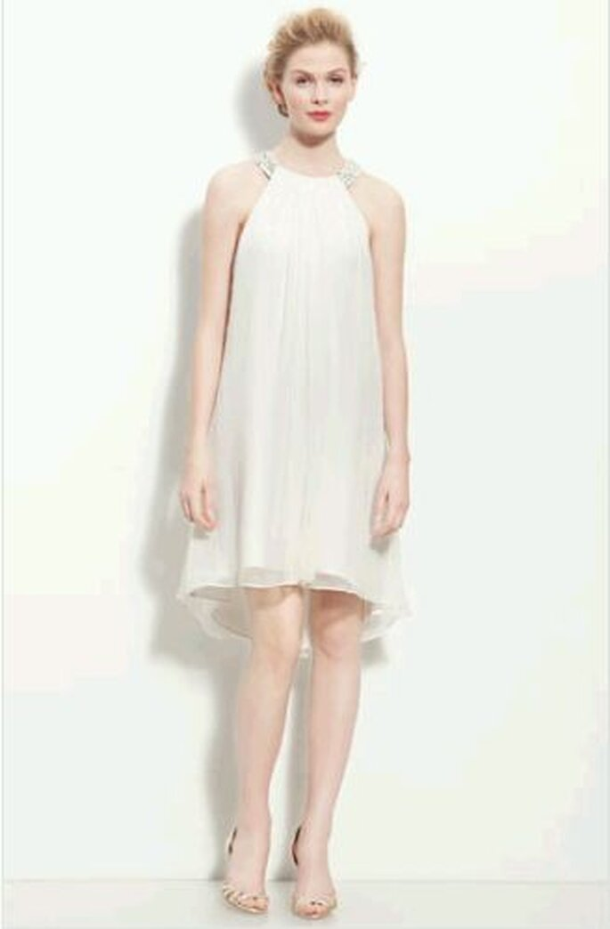 Calvin Klein Beaded Halter Chiffon Dress