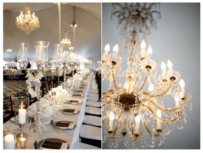 Decoración de boda con elegantes candelabros - Foto Belathee Photography