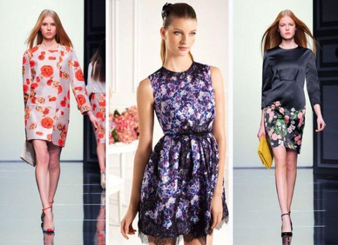 En 2013, les robes se livrent des compositions florales. Copyright : Pronovias au centre, Tara Jarmon à gauche et à droite
