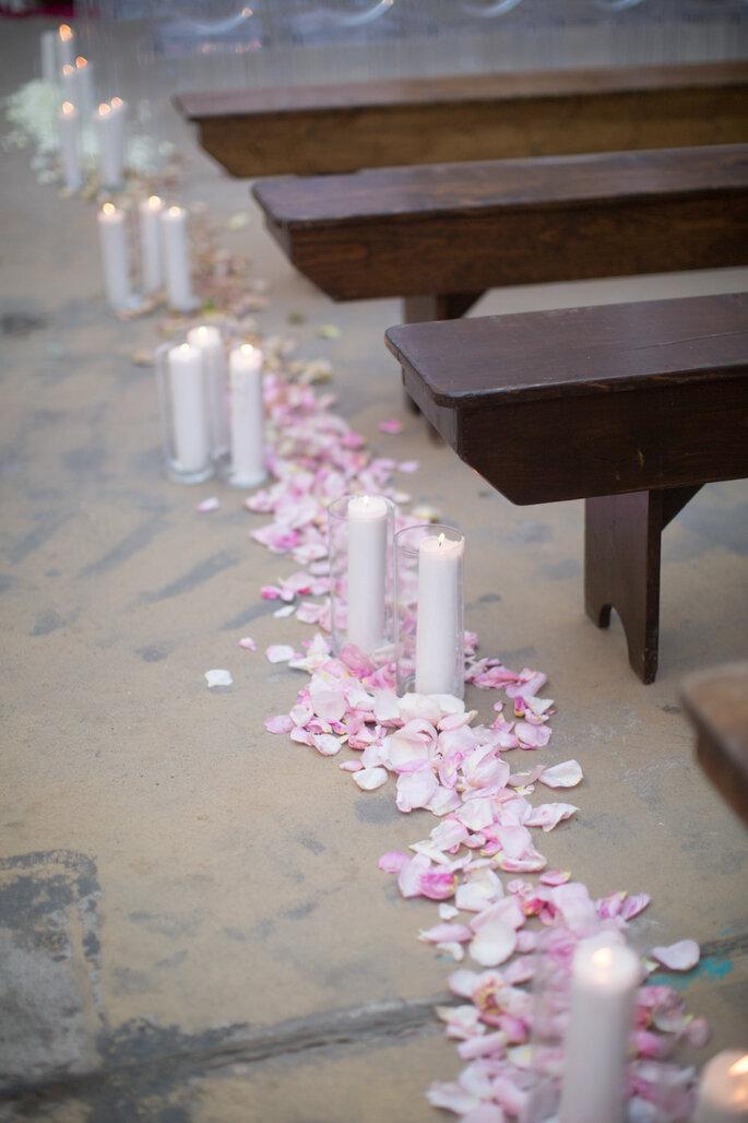 8 maneras creativas de decorar el pasillo de la ceremonia de boda. Foto-Elizabeth McDonnell Photography