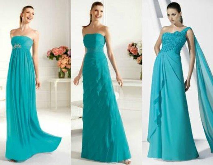 Robes turquoises de Pronovias. Photos: www.pronovias.es