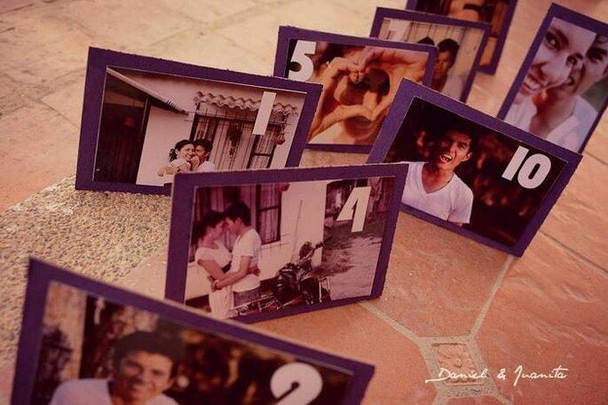 Marcasitios con fotos de los novios. Foto: Juyá Photographer