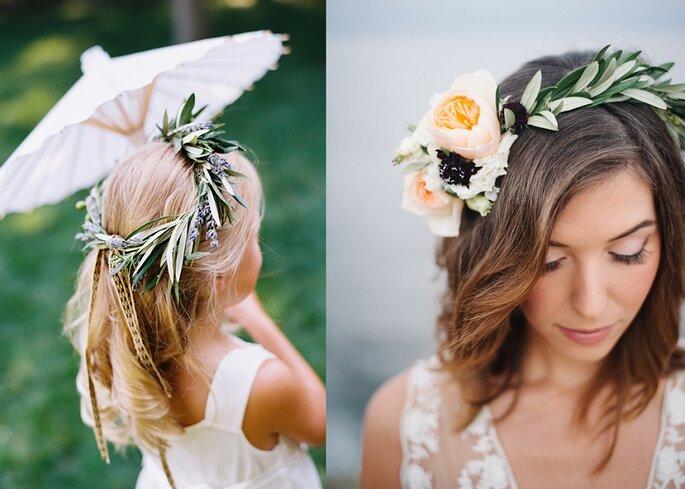 coronas de olivo novia niñas