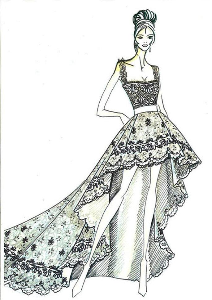 VALINA, vestido de novia corto con cola y delicados detalles de encaje. Foto: Pronovias