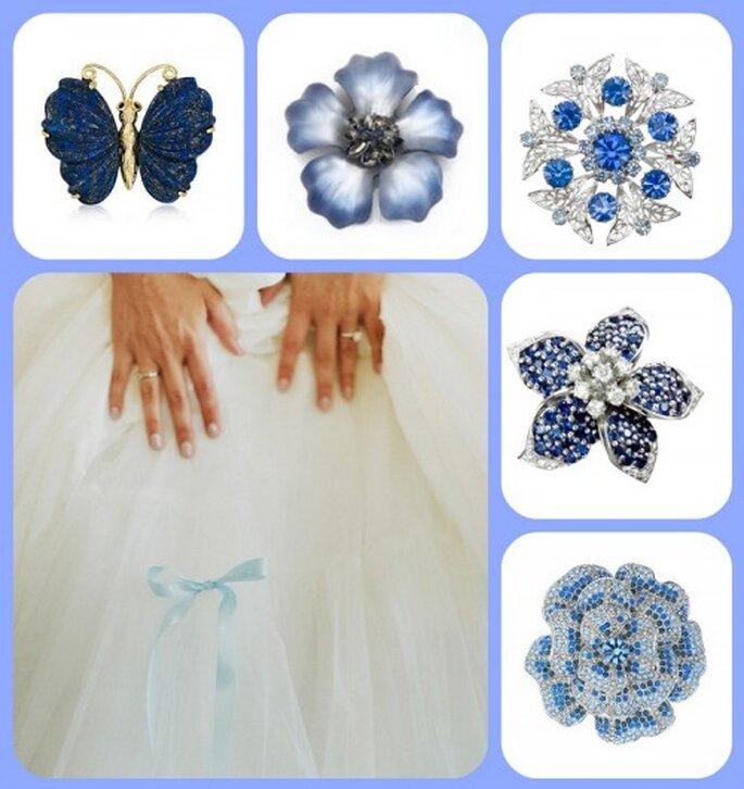 Prendedores en color azul para novias