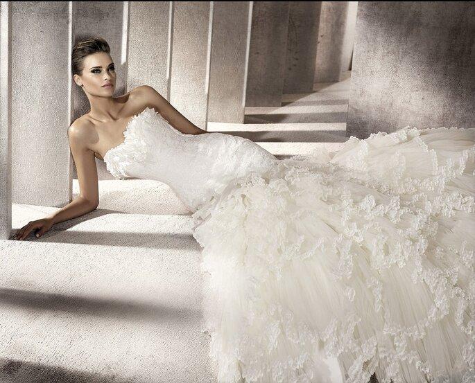 Las novias de 2012 lucirán muy románticas. Modelo Pamela-A. Foto: Pronovias