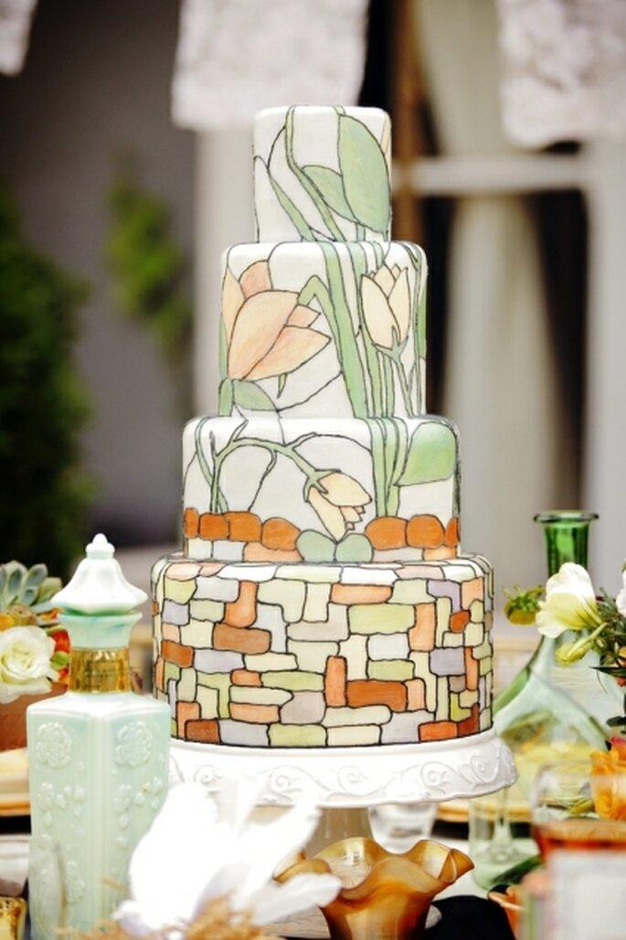 Torta ispirata allo stile Art Noveau realizzata da Karen di Sweet Cakes. Foto: Gideon Photography