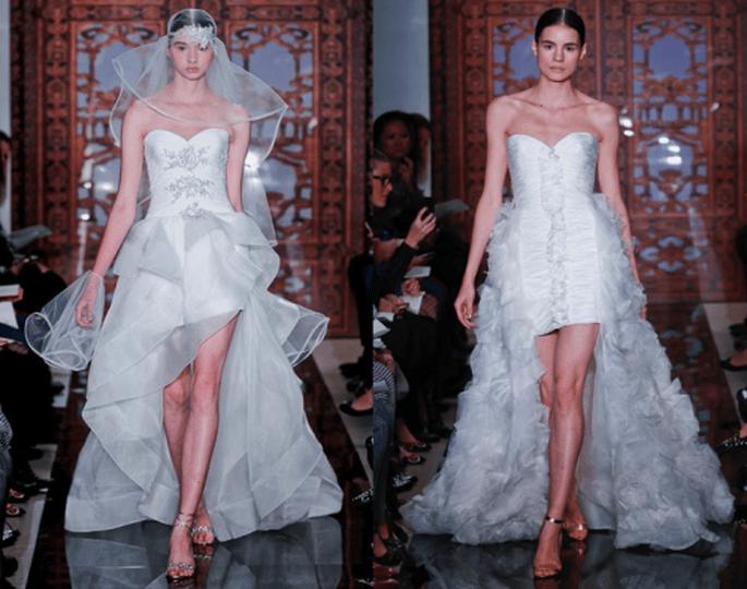 Vestidos de novia otoño 2013 cortos con cauda larga - Foto Reem Acra