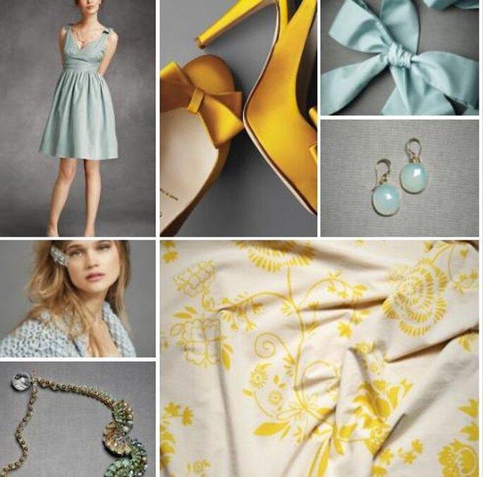 Outfit completo en azul pálido y amarillo para tu boda. Fotos: BHLDN