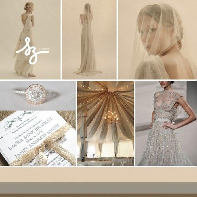 Collage de inspiración para tener una boda mágica y muy elegante - Fotos somethingnewstationery.co.uk, smthgblue.tumblr.com, burnettsboards.com, eliesaab,com. Diseño de Raisa Torres para SZ Eventos