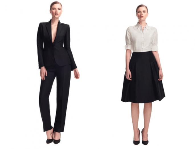 Traje saste en color negro y conjunto de falda amplia con camisa blanca para una boda elegante - Foto Moda Operandi