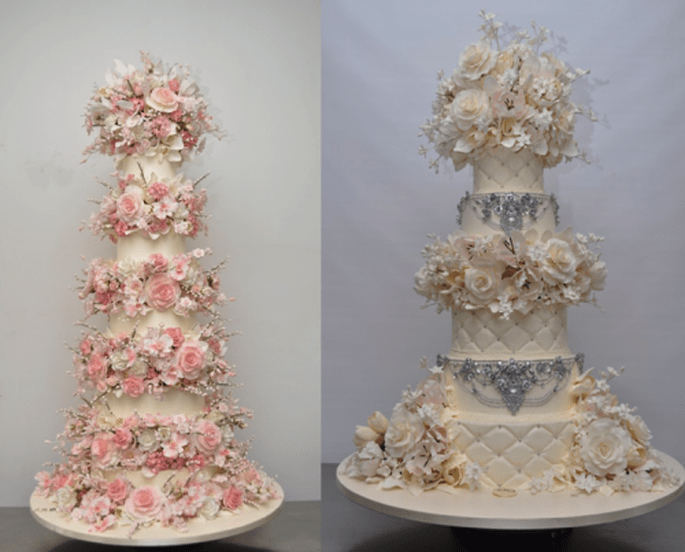 Pasteles de boda con detalles de flores e incrustaciones de pedrería - Foto Sylvia Weinstock