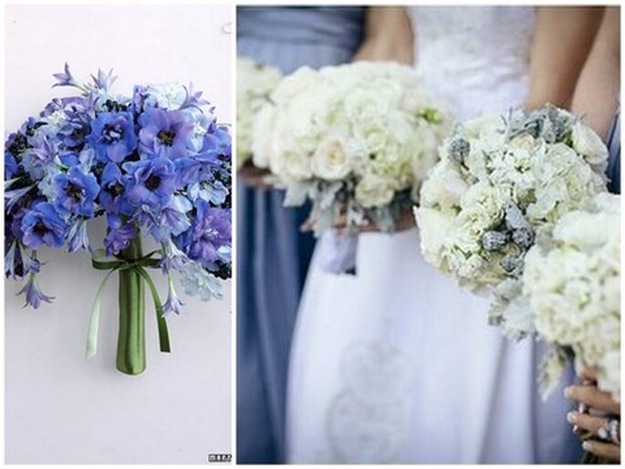 Photo at left via Martha Stewart Weddings. Photo at right via Forever Photography.