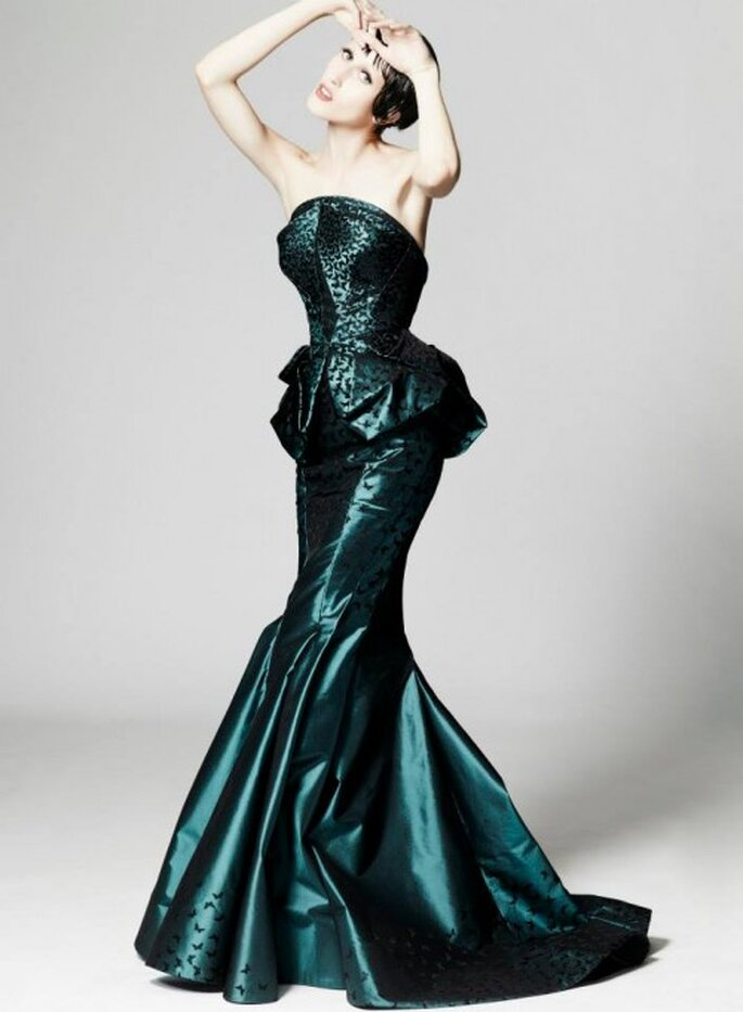 Vestido de fiesta 2014 en color verde marino metalizado - Foto Zac Posen