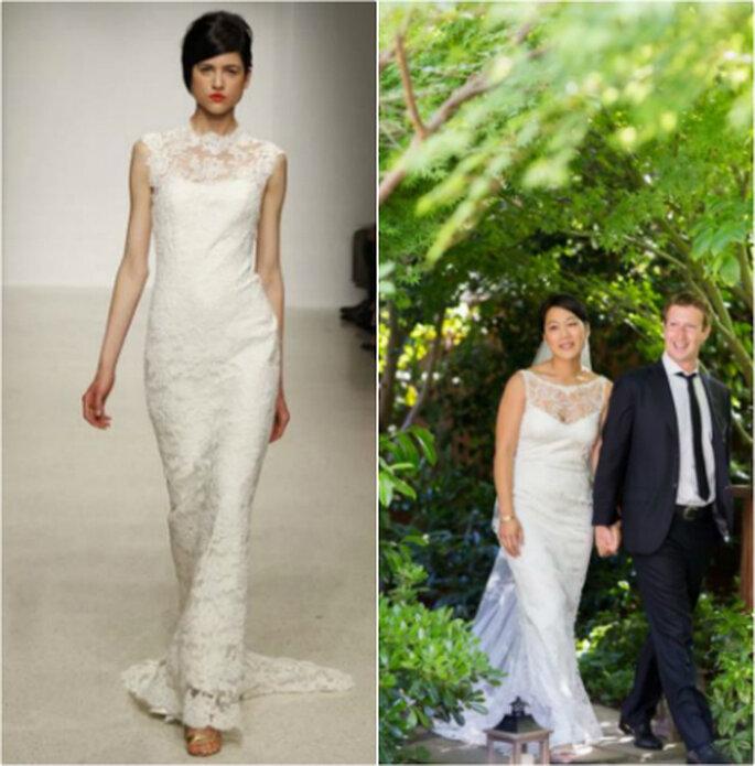 Comparación entre los dos vestidos. Fotos: Amsale 2013 (izq.) y Mark Zuckerberg via facebook (der.)