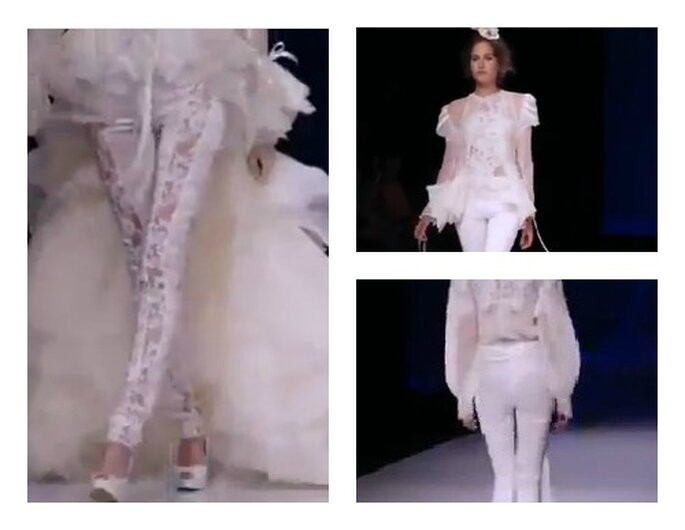 Pant suits di Yolan Cris alla Barcellona Bridal Week. Foto: youtube.com