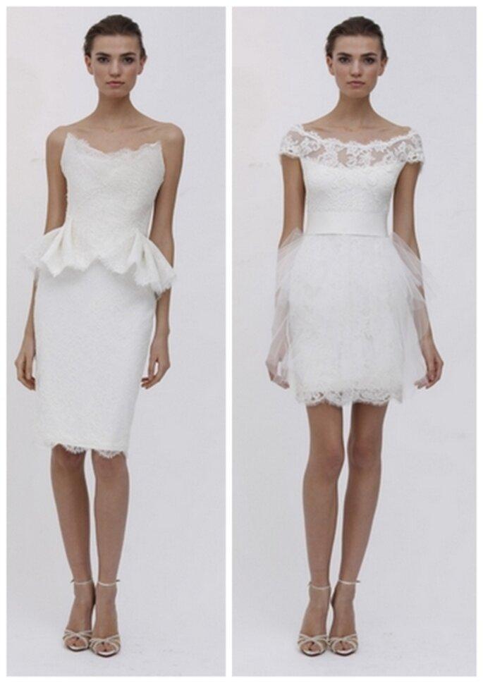 Vestido corto para novia en su boda civil de otoño 2011 By Marchesa