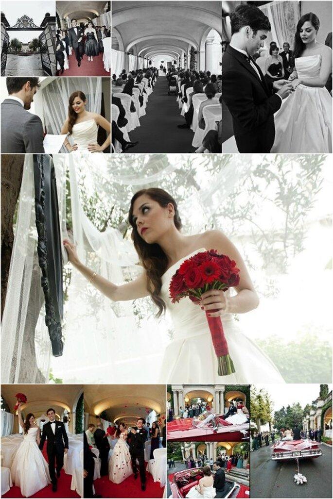La romántica ceremonia de boda, con detalles 'retro'. Foto: Punto de Vista