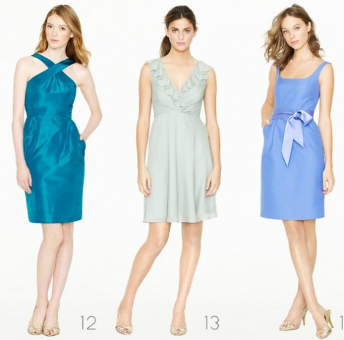 Vestidos cortos para dama de honor en color azul cielo - Foto: J.Crew Bridesmaid Collection