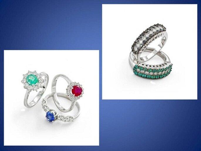 Oro bianco e smeraldi e diamanti neri per la linea Brilliance; Oro bianco con zaffiri e rubini per la linea Princess. Foto: www.chimento.it