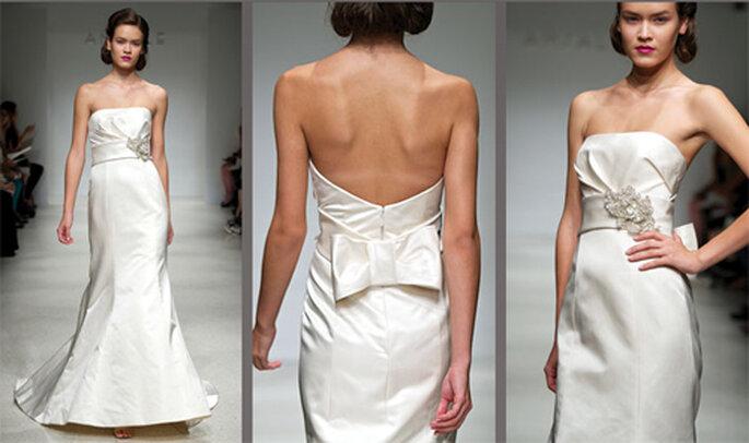 Vestido de novia elegante con un moño - Foto: Amsale Bridal