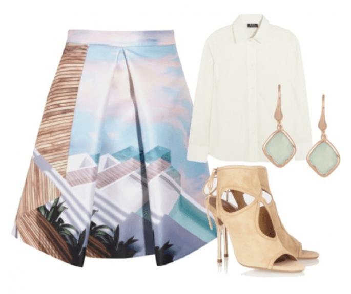 Falda Mary Katrantzou, camisa de APC, zapatos de Aquazzura y aretes de Monica Vinader - Fotos Net a Porter