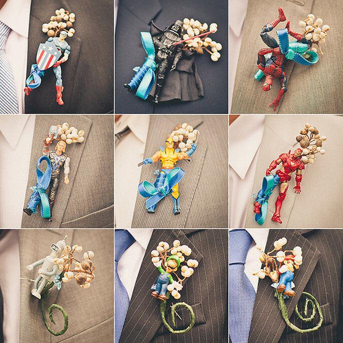 Increíbles ideas muy originales para los boutonnieres para novios e invitados . Foto de Sweet Little Photographs