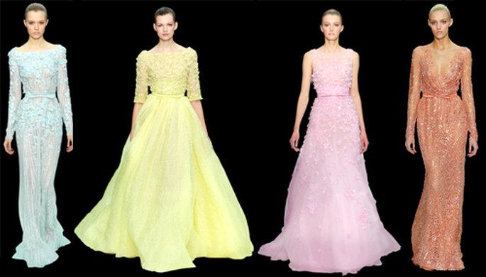 Vestidos largos de gala en tonos pastel - Foto: ElieSaab.com