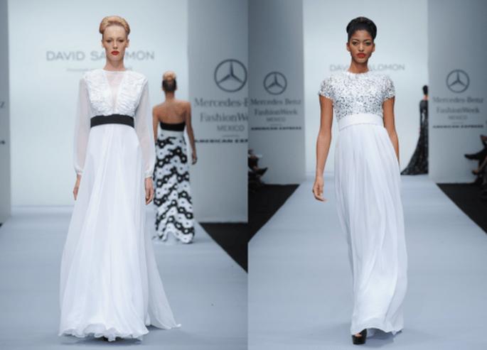 vestidos de fiesta en color blanco de David Salomón - Foto Mercedes Benz Fashion Week México